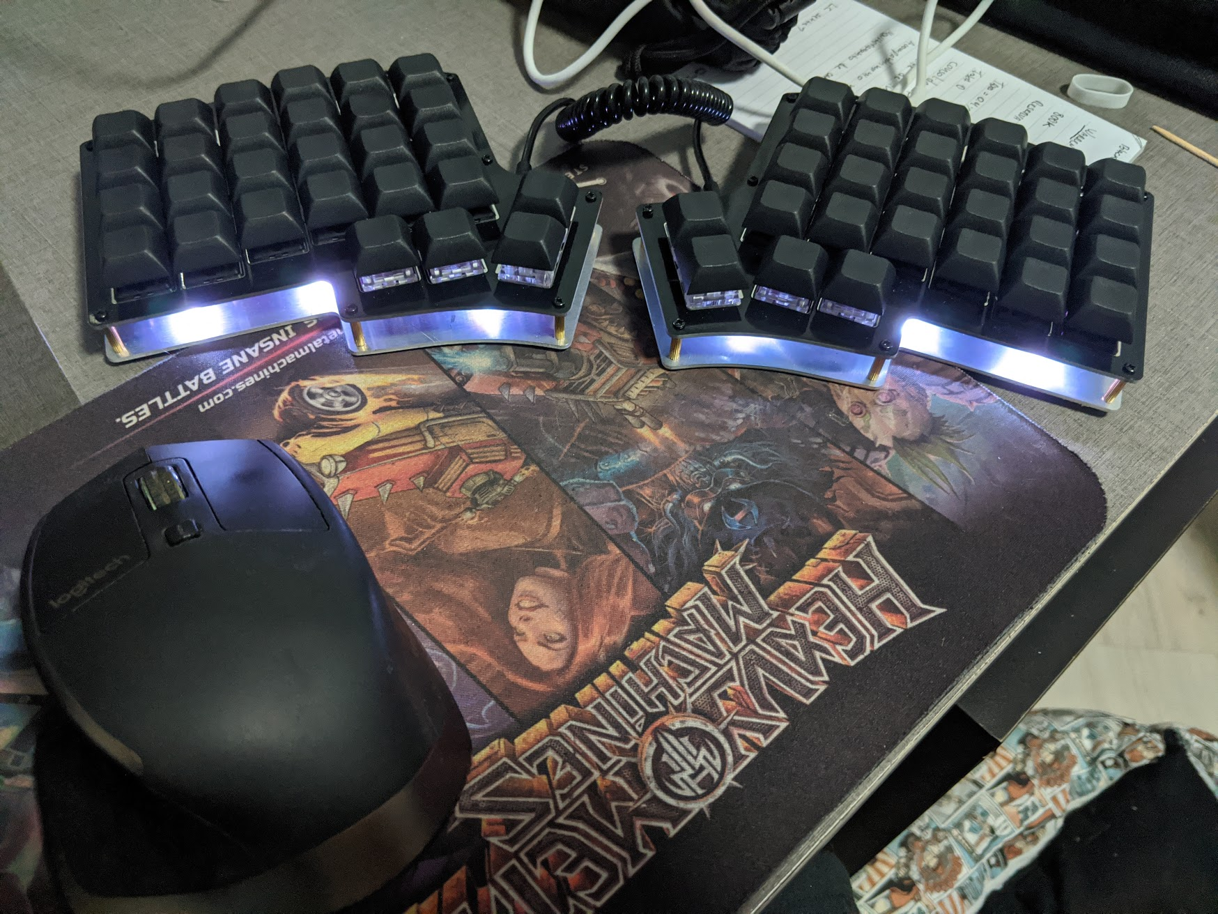The keyboard with a blue/white LED lighting