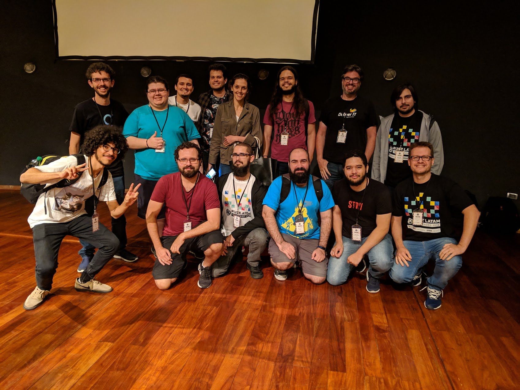 All brazilians on stage after the conference in a unofficial picture