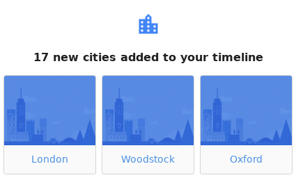 Cities visited this month
