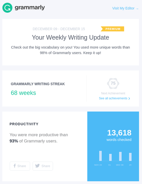 Screenshot of the email sent by Grammarly. It shows the number of words checked (13618)