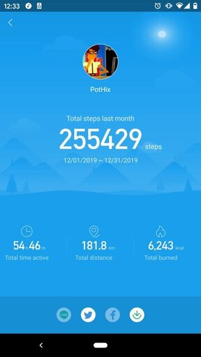 Screenshot from the Miband app showing data for a month