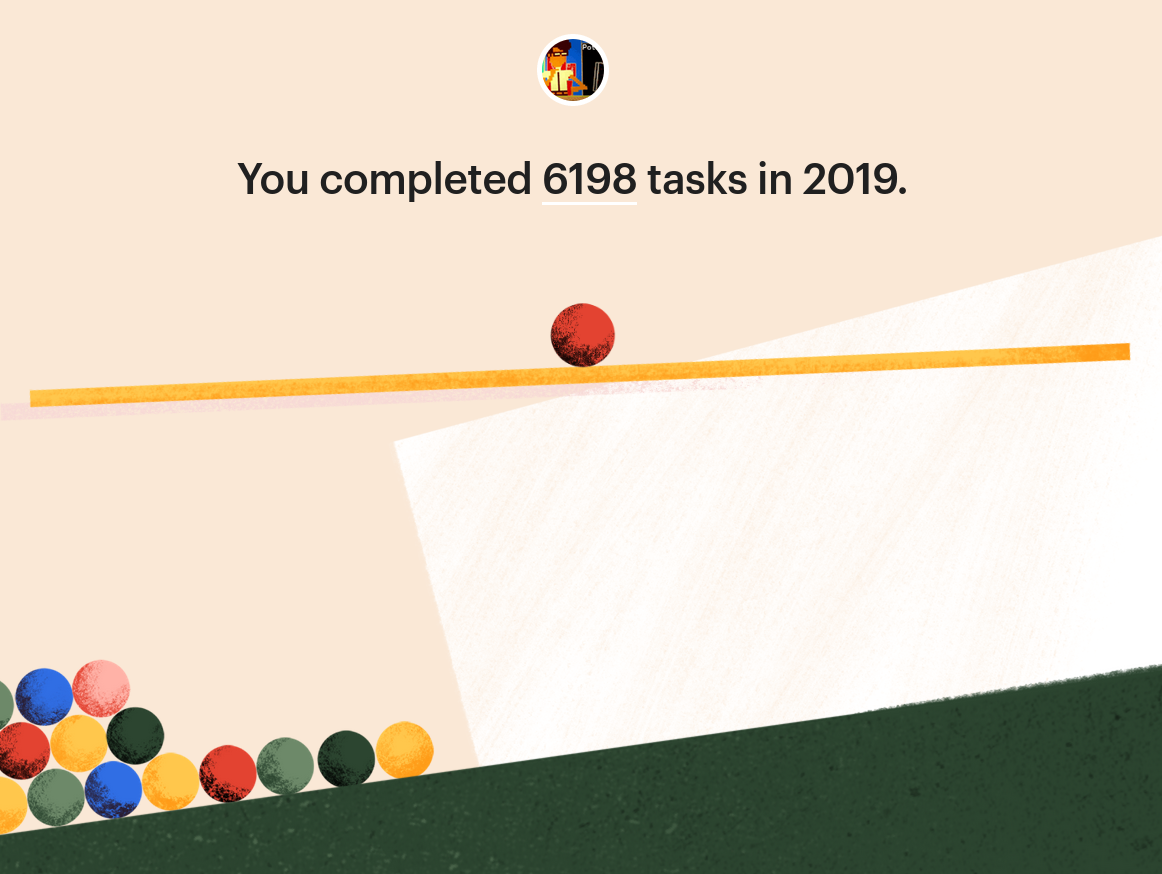 A good design of some colorful balls rolling and the number of completed tasks in 2019