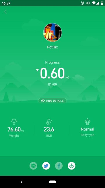 Screenshot of the Miband app showing some stats, including my current weight (76.60kg) and BMI (23.6)